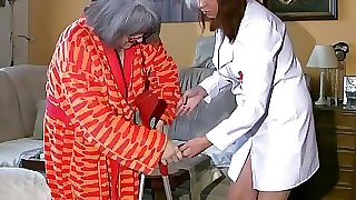 BBW chubby Nurse wank with old Grandma