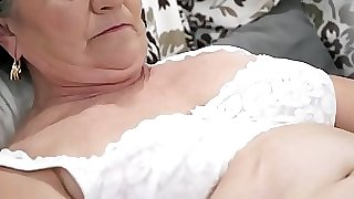 Senior hairy vulva filled with young cock